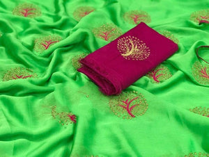 Beautiful Parrot Green color Party wear Georgette Embroidery Sari MDS-6 PG