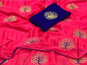 Perfect Pink color Party wear Georgette Embroidery Sari MDS-6 PINK