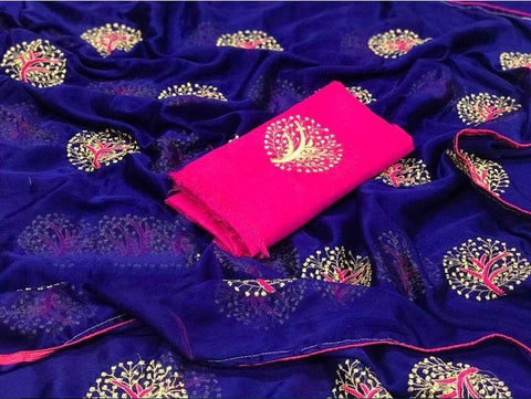 Royal Blue color Party wear Georgette Embroidery Sari MDS-6 RB