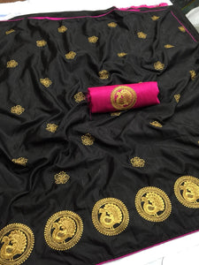 Blooming Black color Party wear Sana Silk Embroidery Sari MDS-7 BLACK