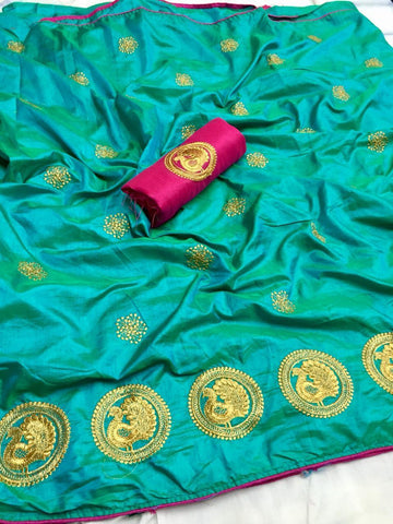 Snazzy Sky Blue color Party wear Sana Silk Embroidery Sari MDS-7 SB