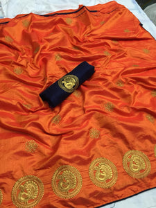 Classy Orange color Party wear Sana Silk Embroidery Sari MDS-7 ORANGE