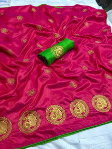 Perfect Pink color Party wear Sana Silk Embroidery Sari MDS-7 PINK