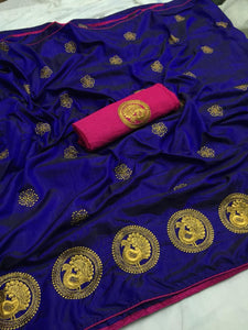 Royal Blue color Party wear Sana Silk Embroidery Sari MDS-7 RB