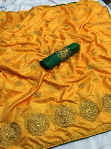 Stunning Yellow color Party wear Sana Silk Embroidery Sari MDS-7 YELLOW