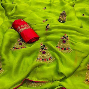 Snazzy Parrot Green color Party wear Georgette Embroidery Sari MDS-8 PG