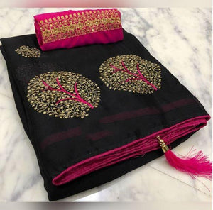 Glowing Black color Party wear Georgette Embroidery Sari MDS-9 BLACK