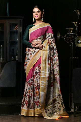 Pure Linen Multicolor Digital Printed Saree, MS-1004