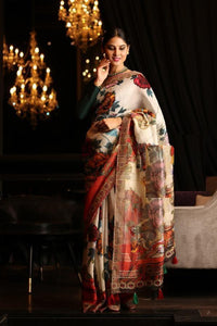 Multicolor Linen Digital Printed Saree, MS-1007