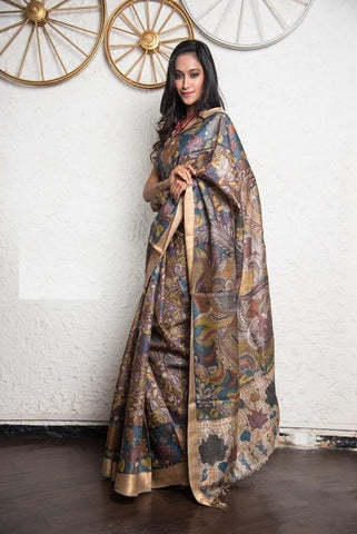 Multicolor Linen Digital Printed Saree MS-1010