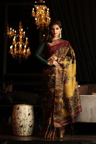 Yellow Color Linen Digital Printed Saree MS-1022