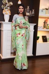 Light Green Color Linen Digital Printed Saree MS-1031