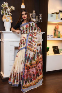 Multicolor Linen Digital Printed Saree MS-1032