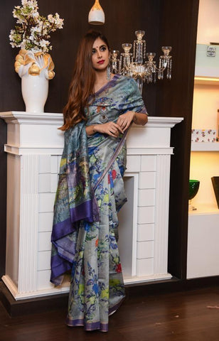 Purple Color Linen Digital Printed Saree MS-1034
