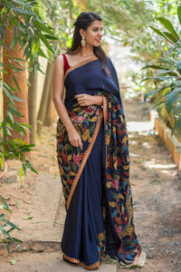 Navy Blue Color Linen Digital Printed Saree MS-1036