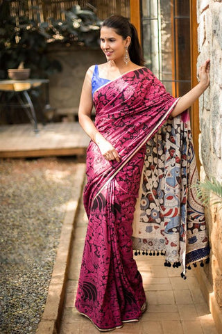 Pink Color Linen Digital Printed Saree MS-1041