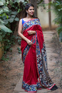 Red Color Linen Digital Printed Saree MS-1049