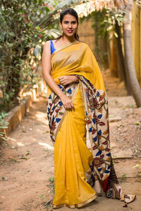 Yellow Color Linen Digital Printed Saree MS-1053