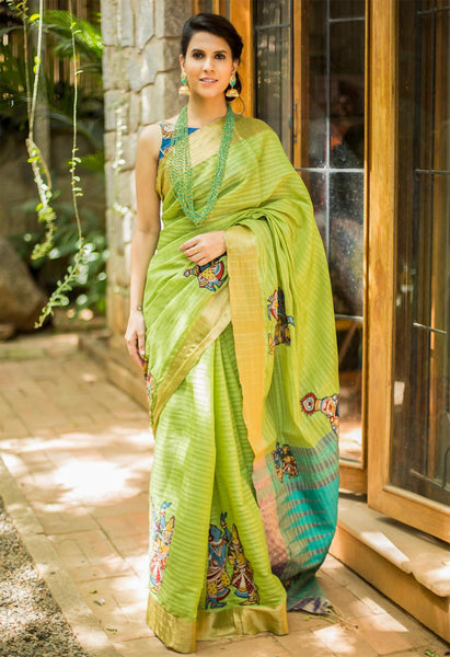Awesome Parrot Color Designer Linen Digital Printed Saree MS-1094