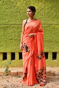 Orange Color Designer Linen Digital Printed Saree MS-1103