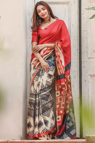 Red and White Color Designer Linen Digital Printed Saree MS-1118