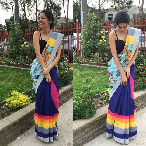 Linen Digital Printed Saree MS-1158