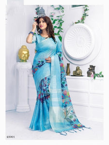 Linen Digital Printed Saree MS-1171
