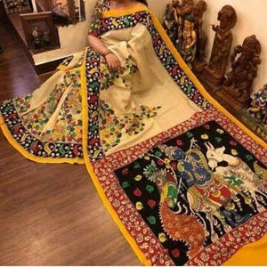 KalamKari Linen Digital Printed Saree MS-1200