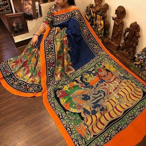 KalamKari Linen Digital Printed Saree MS-1202