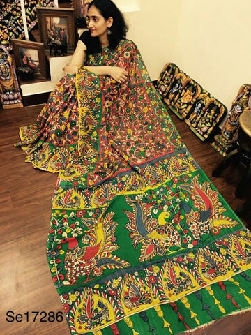 KalamKari Linen Digital Printed Saree MS-1204