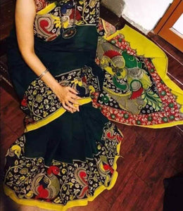 KalamKari Linen Digital Printed Saree MS-1205
