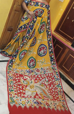KalamKari Linen Digital Printed Saree MS-1208