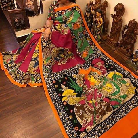 KalamKari Linen Digital Printed Saree MS-1212