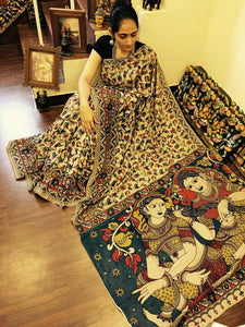 KalamKari Linen Digital Printed Saree MS-1213