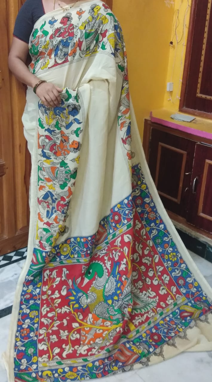 KalamKari Linen Digital Printed Saree MS-1214