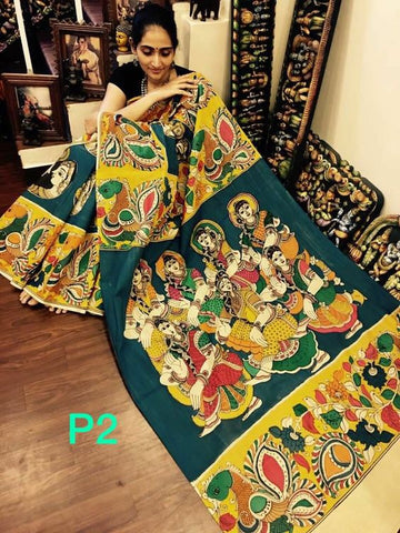 KalamKari Linen Digital Printed Saree MS-1224