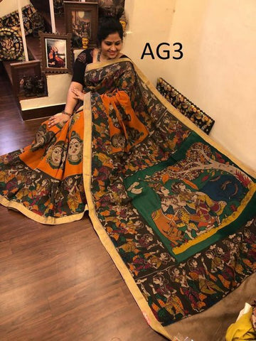 KalamKari Linen Digital Printed Saree MS-1226
