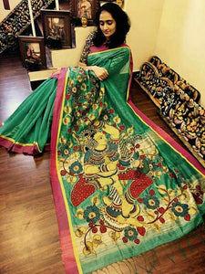 KalamKari Linen Digital Printed Saree MS-1227