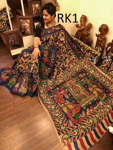 KalamKari Linen Digital Printed Saree MS-1230
