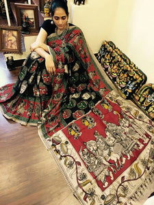 KalamKari Linen Digital Printed Saree MS-1231