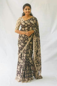 Pure KalamKari Linen Digital Printed Saree MS-1235