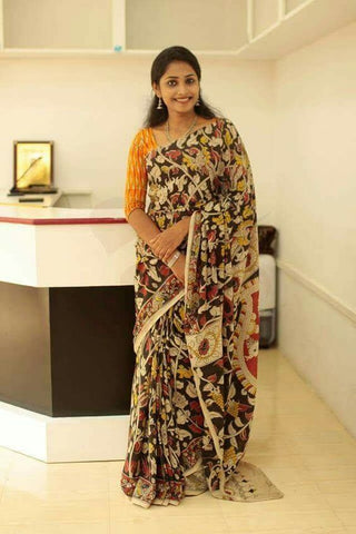 Party Wear KalamKari Linen Digital Printed Saree MS-1239
