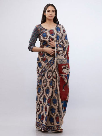 Fabulous KalamKari Linen Digital Printed Saree MS-1242