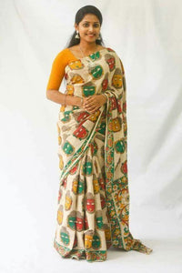 Fabulous KalamKari Linen Digital Printed Saree MS-1243