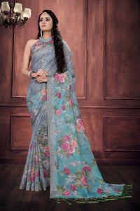 Elegant Multi Colored Casual Wear Printed Pure Linen Saree MS-1244