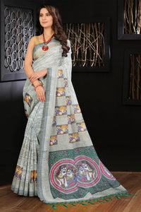 Casual Wear Pure Linen Digital Printed Saree MS-1245