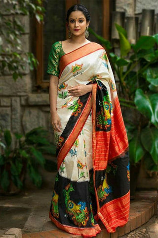 Multi color Linen Digital Printed Saree MS-1255