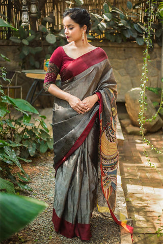 Lovely Gray & Maroon Colored Festive Wear Linen Digital Printed Saree MS-1256