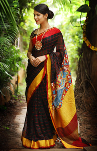 Energetic Black and Red Chex Colored Festive Wear Linen Digital Printed Saree MS-1258