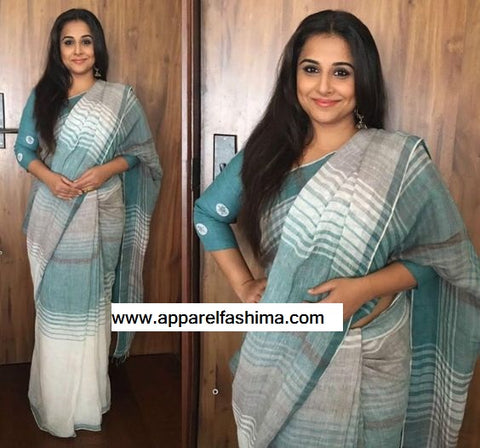 Desirable Aqua Blue Colored Festive Wear Cotton Linen Saree MS-1277